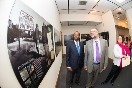 Interim Howard University President Dr. Wayne A. I. Frederick and South African Ambassador Ebrahim Rasool viewing the Nelson Mandela exhibit during the opening night reception.
