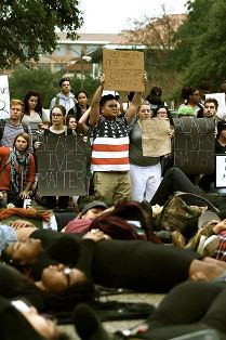 Students protest at the University of Texas.