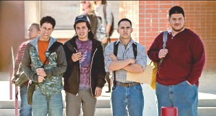 A still from Spare Parts features the robotics teammates (from left to right): David Del Rio as Cristian Arcega, José Julián as Lorenzo Santillan, Carlos PenaVega as Oscar Vazquez, and Oscar Gutierrez as Luis Aranda.