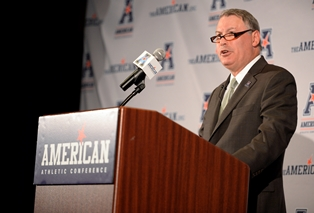 "Michael Aresco, commissioner of the American Athletic Conference, said one step taken to maintain level of play of non-revenue sports was to ""schedule in a common sense way."""