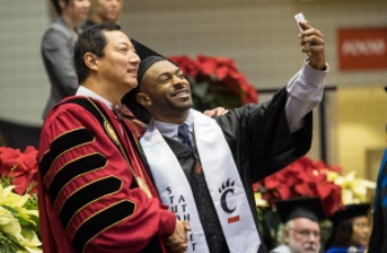 University of Cincinnati President Santa J. Ono, left. is using his welcoming nature and social media skills to usher in a new era for the institution. (Photo courtesy of the University of Cincinnati)