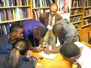 Dr. Yacob Astatke interacts with Morgan State University students. (Photo courtesy of Dr. Yacob Astatke)