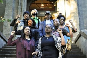The University of Oregon (UO) Black Student Task Force, from bottom left to right, by row: Denisa Clayton and Ashley Campbell, Shaniece Curry and Alexis White, Diamante Jamison and Dayja Curry, and Kena Gomalo and Jaleel Reed.